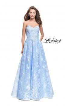 Picture of: Long Strapless Lace Ball Gown with Beading and Pockets in Cloud Blue, Style: 26338, Main Picture