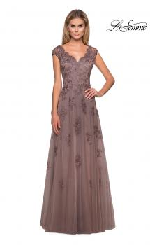 Picture of: Short Sleeve Lace Gown with Casscading Embellishments in Cocoa, Style: 26942, Main Picture