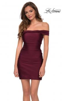 Picture of: Short Off The Shoulder Dress with Lace Up Back in Dark Berry, Style: 29268, Main Picture