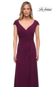 Picture of: Jersey Dress with Knot at Waist and Short Sleeves in Dark Berry, Main Picture