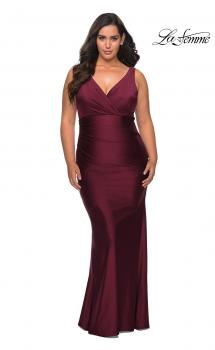 Picture of: Simple Jersey Plus Size Gown with Faux Wrap Bodice in Burgundy, Style: 29028, Main Picture