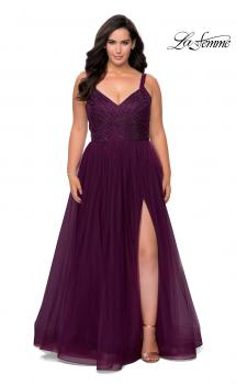 Picture of: Plus Size A-line Prom Gown with Rhinestone Bodice in Burgundy, Style: 29060, Main Picture