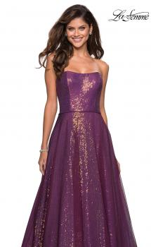 Picture of: A Line Fully sequin Strapless Prom Gown, Style: 27296, Main Picture