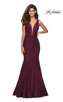 Picture of: Stretch Lace Prom Dress with Plunging Neckline in Burgundy, Style: 27464, Main Picture