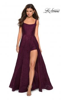 Picture of: Long Lace Prom Dress with Attached Shorts in Burgundy, Style: 27476, Main Picture