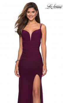 Picture of: Form Fitting Long Jersey Dress with Ruching in Burgundy, Style: 27564, Main Picture