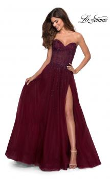 Picture of: Strapless Beaded Prom Gown with Slit and Pockets in Burgundy, Style 28603, Main Picture