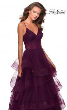 Picture of: Tiered Tulle Ball Gown with Sheer Bodice in Burgundy, Style: 28641, Main Picture