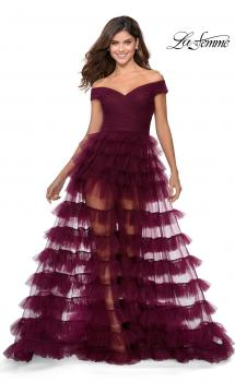 Picture of: Sheer Layered Tulle Off the Shoulder Prom Gown in Burgundy, Style: 28804, Main Picture