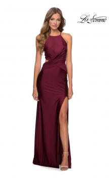 Picture of: Ruched Criss Cross Long Jersey Prom Dress in Burgundy, Style: 28834, Main Picture