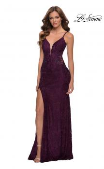 Picture of: Chic Long Stretch Lace Gown with Sheer Rhinestone Back in Dark Berry, Style 29679, Main Picture