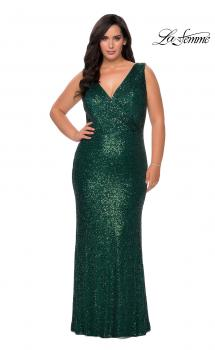 Picture of: Long Sequin Plus Size Prom Gown with V-Neck in Dark Emerald, Style: 28770, Main Picture