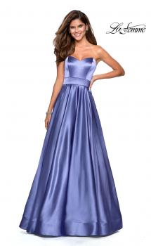 Picture of: Strapless Metallic Prom Gown with Empire Waist in Dark Periwinkle, Style: 27506, Main Picture