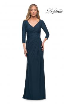 Picture of: Ultra Soft Jersey Long Dress with Three-Quarter Sleeves in Dark Teal, Main Picture