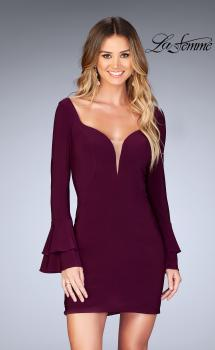 Picture of: Short Jersey Dress with Ruffle Sleeves and Strappy Back in Burgundy, Style: 25366, Main Picture