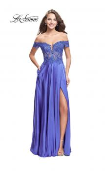 Picture of: A-line Off the Shoulder Satin Dress with Beaded Lace Bodice, Style: 25694, Main Picture