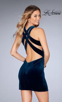 Picture of: High Neck Velvet Short Dress with Strappy Back in Dark Teal, Style: 25091, Main Picture