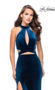 Picture of: Long Velvet Prom Dress with High Neckline and Cut Outs in Dark Teal, Style: 25294, Main Picture