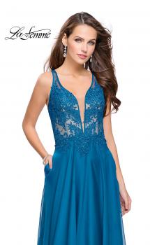 Picture of: Chiffon A-line Dress with Beaded Lace Bodice in Dark Teal, Style: 26082, Main Picture