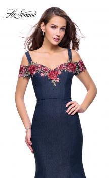 Picture of: Denim Off the Shoulder Dress with Floral Applique in Dark Wash, Style: 25753, Main Picture