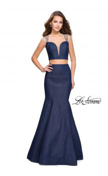 Picture of: Two Piece Denim Prom Dress with Beaded Straps in Dark Wash, Style: 25754, Main Picture