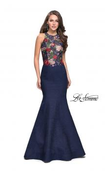 Picture of: High Neck Denim Mermaid Gown with Floral Print in Dark Wash, Style: 25885, Main Picture