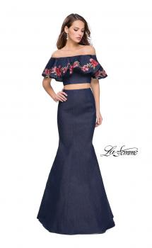 Picture of: Two Piece Denim Dress with Floral and Ruffle Detail in Dark Wash, Style: 26013, Main Picture