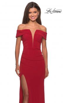 Picture of: Long Off The Shoulder Prom Dress with Deep V-Neck in Deep Red, Style: 28132, Main Picture