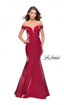 Picture of: Off the Shoulder Satin Prom Dress with Strappy Back in Deep Red, Style: 25764, Main Picture
