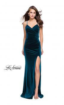 Picture of: Velvet Prom Dress with Strappy Back and Small Train in Deep Teal, Style: 25184, Main Picture