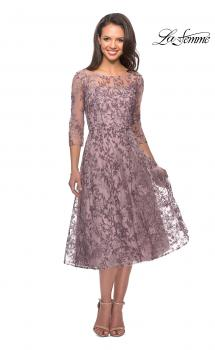Picture of: Tea Length Embroidered Dress with Sheer Sleeves in Dusty Lilac, Style: 27971, Main Picture