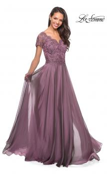 Picture of: Long Chiffon Dress with Lace Bodice and Pockets in Dusty Mauve, Style: 27098, Main Picture