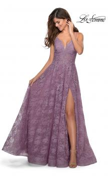 Picture of: Floral A-line Prom Gown with Sheer Bodice and Pockets in Dusty Mauve, Style: 28386, Main Picture