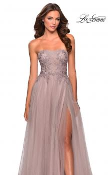 Picture of: Strapless Tulle Gown with Floral Embellishments in Dusty Mauve, Style: 28586, Main Picture