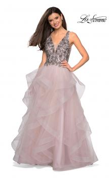 Picture of: Cascading Tulle Prom Dress with Rhinestone Bodice in Dusty Pink, Style: 27649, Main Picture