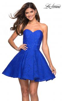Picture of: Short Lace Strapless Party Dress with Rhinestones in Electric Blue, Style: 27334, Main Picture