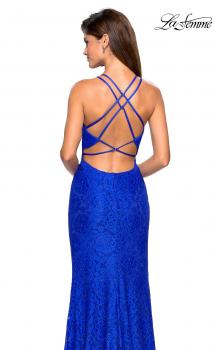 Picture of: Stretch Lace Prom Gown with Rhinestones and Slit in Electric Blue, Style: 27046, Main Picture