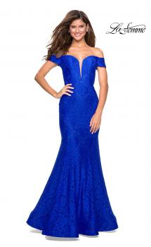 Picture of: Stretch Lace Off the Shoulder Mermaid Prom Dress in Electric Blue, Style: 27613, Main Picture