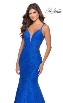Picture of: Long Mermaid Lace Dress with Back Rhinestone Detail in Electric Blue, Style: 28355, Main Picture