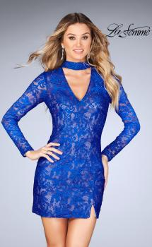 Picture of: Long Sleeve Short Lace Dress with Choker in Electric Blue, Style: 25373, Main Picture