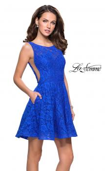 Picture of: Lace Short Dress with Rhinestones and Pockets, Style: 26616, Main Picture