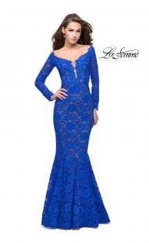Picture of: Long Sleeve Lace Mermaid Prom Dress with Metallic Beads in Electric Blue, Style: 25607, Main Picture
