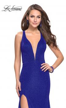 Picture of: Long Jersey Prom Dress with Racer Back and V Neckline in Electric Blue, Style: 25882, Main Picture