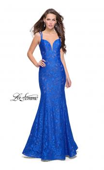 Picture of: Long Lace Mermaid Prom Dress with Double Straps in Electric Blue, Style: 26043, Main Picture