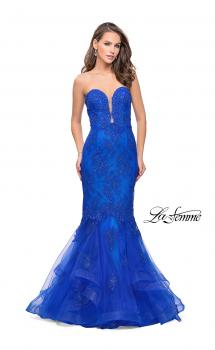 Picture of: Long Strapless Lace Prom Dress with Tulle Skirt in Electric Blue, Style: 26219, Main Picture