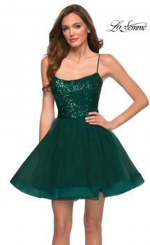 Picture of: Tulle and Sequin Short Party Dress with Corset Back in Emerald, Style: 29237, Main Picture