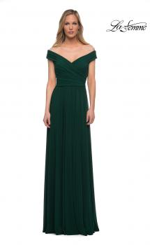 Picture of: Off the Shoulder Net Jersey Long Dress with Ruching in Emerald, Main Picture
