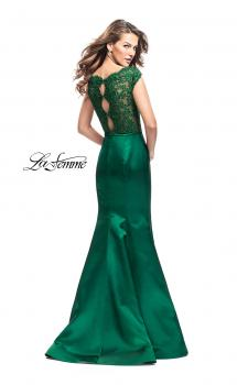Picture of: Off the Shoulder Mikado Prom Dress with Lace and Beads in Emerald, Style: 25926, Main Picture