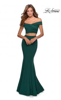 Picture of: Two Piece Off The Shoulder Dress with Pleated Top in Emerald, Style: 28521, Main Picture