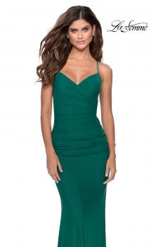 Picture of: Fitted Jersey Long Dress with Lace Up Back in Emerald, Style: 28541, Main Picture